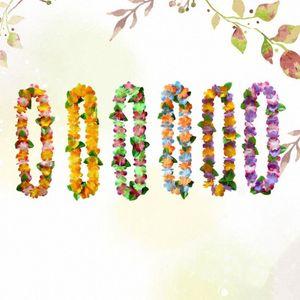 6pcs Hawaii guirnalda del colgante del collar de ornamento floral Garland cuello colgante Funcionamiento de la flor (color al azar) F3LL #