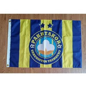 Ücretsiz Hızlı Kargo Asma Özbekistan FC Pakhtakor Tashkent 150x90cm 100D Polyester Spor Takımı Kulübü Inddor Outdoor'un Bayrağı