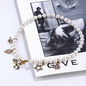 2020cd letras amor zircon estrela pérola colar feminino personalidade nabre star ins internet celebridade mesmo estilo