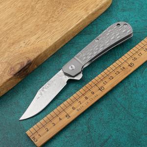 Coltello chiudibile in acciaio lega di titanio lama di sopravvivenza della maniglia di caccia Damasco campeggio esterna autodifesa strumento EDC lama multifunzionale