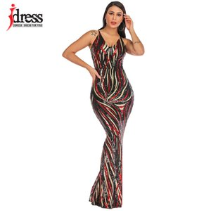IDress 2020 Sexy Summer Spaghetti Strap Deep V Neck Robe Longue Evening Party Backless Bodycon Maxi Paillette Sequin Long Dress