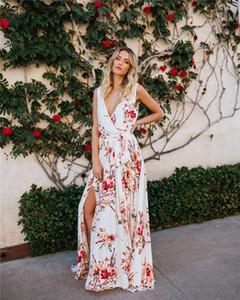Women Bohemian Dresses Fashion Floral Pattern Split Dresses Casual V-Neck Sleeveless Natural Color Dresses Women Designer Clothes