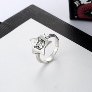 High Quality Hot Selling Silver Plated Ring for Female Pentagram Cat Head Ring Personality Trend Ring Fashion Jewelry Supply