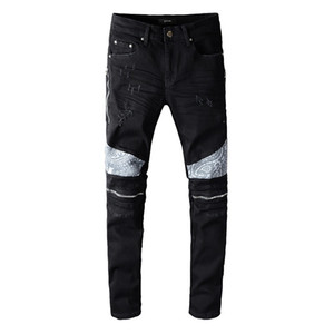 2020 B Men Jeans Fashion Strappato Jeans Special Cerniera Zipper Design Mens Distressed Denim Joggers Jeans Slim-Fit Jeans Maschio 642 645 646