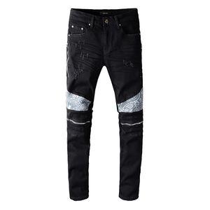2020 B Men Jeans moda pantalones vaqueros rasgados con cremallera especial para hombre apenado del dril de algodón chándal entallada de Jeans Hombre 642 645 646