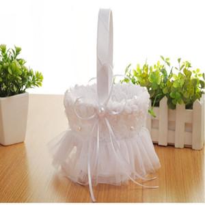 Nuovo arrivo White Wedding Flower Basket Con rotondo elegante raso e Rosa Flower Girl Baskets favori di nozze decorazioni del cuscino dell'anello