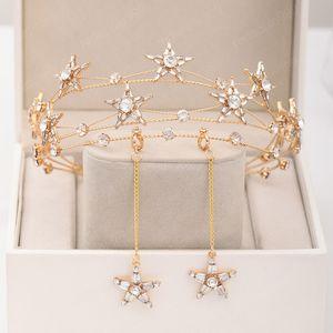Femmes Ensemble de bijoux de mariage mariée d'or Couleur Forme étoilée conception Diadèmes Bandeau main strass Couronne boucles d'oreilles de bijoux