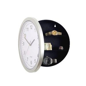 Cercle caché coffret de rangement Horloge murale blanc montre Horloges Coffre-fort Hanging Container Hide Dissimulation de Bell Hôtel Décoration 17hl C2