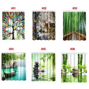 3D 대나무 인쇄 홈 목욕 장식 샤워 커튼 세트 HD 인쇄 폴리 에스터 목욕 욕실 화면을 커버