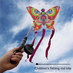 2019 children's cartoon mini plastic Fishing rod butterfly telescopic fishing rod kite butterfly goldfish Eagle bee kite