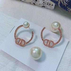 C2194 Fashion Rose gold half circle pearl letter CD earrings beautiful pink imitation crystal ear studs feminine charm earrings