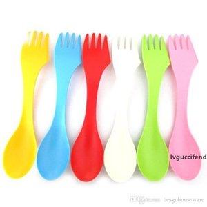 Herramientas 6pcs / Set 3en1 cuchara de plástico Tenedor Cuchillo Combo de excursión que acampa Cuchara Tenedor Mini Inicio de cocina portátil 6 colores viaje Vajilla BH1976 ZX