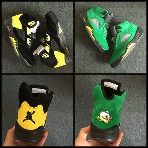 High Quality nike air jorda 5 5s Oregon Ducks JumpDucks aj5 aj 5 Mens Basketball Shoes Green Black Yellow Sport Shoe Breathable Brand Sneakers