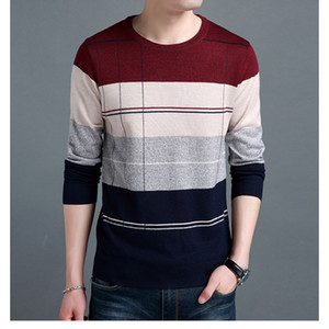 Men's Sweaters Wool Pullover Autumn Winter Warm Thick O-neck Patchwork Slim Fit Long Sleeve Clothes Knitted Cotton Casual Male Sweater