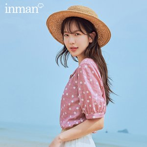 INMAN 2020 Summer New Arrival Sweet French Style Square Collar Wave Point Single-breasted Short Sleeve Blouse