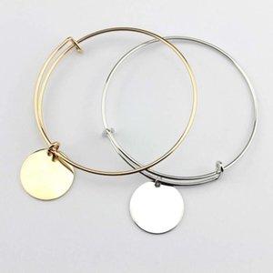 2018 Gold Rhodium Plated Initial Blanks Bangle Fashion Monogram Blanks Charm Bangles Flat Round Disc Engraved Bangle Bracelet Adjustable
