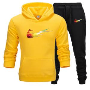 2020 Men's Set Spring Autumn Men Sportswear 2 Piece Set SportingTrack Suits Jacket+Pant Sweatsuit Male Hooded Tracksuit Set S-XXXL