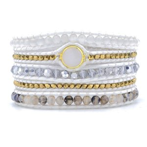 Bohemia Crystal Non-Leather Bracelet Natural Stone 5X Wrap Bracelet Jewelry For Gifts CX200730