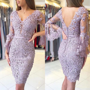 Sexy Full Lace Mother Of The Bride Dresses Appliques Long Sleeves V Neck Mother's Dresses Knee Length Formal Women Gowns For Wedding