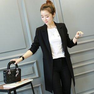 Blazer Casual mediados de longitud de la chaqueta de las mujeres Femenino Nueva versión coreana de las Damas de primavera y otoño Traje Negro Escudo Mujer