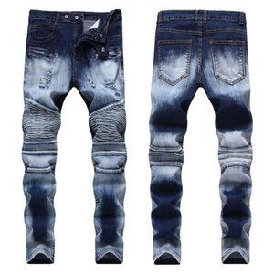 Jeans pour hommes Mens Moto Biker Denim Skinny Elastic Pantalons Joggers Moto Plissé Slim pour les hommes Stretch Fit Bleu foncé