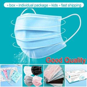 Einweg-Gesichtsmaske Schwarz-Rosa-Grau-Masken mit elastischem Ohr Loop 3 Ply atmungsaktive Kinder Gesichtsmaske individuellen Paket Anti Staub Gesichtsmasken