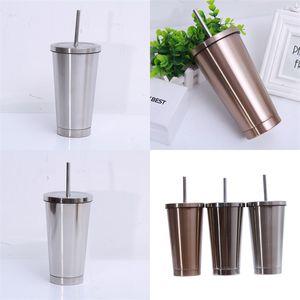 500 ml 304 Taza de acero inoxidable con la taza de Sippy recta regalos de oficina creativa del cuerpo preservación del calor del vaso de la botella de agua 19tl B2