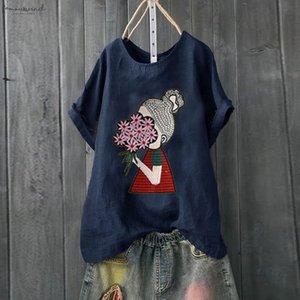 Blouse Women Summer 2020 Casual Plus Size Dog Print Loose Linen Button Tunic Shirt Blouses Tops Boho Clothing Dames Blouse