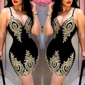 Women's Slim Print Fashion Sling Spaghetti Bodycon Lace Strappy Ladies Evening Party Mini Short Dress Size S-XL V