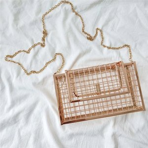 New-INS Hollow Out Clutch Bag Bird Cage Women Handbag Tote Metal Cage Girls Top-Handle Bags Purse Fashion Party Pouch Evening Bag