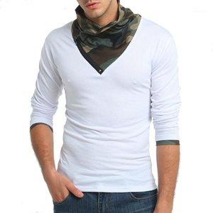 Камуфляж Mens Tshirts с длинным рукавом плиссированные шеи Лоскутная Pure Color Mens Designer Tshirts Zipper Осень Зима
