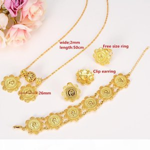 O New Ethiopian Coin Sets Jewelry With 24k Real Yellow Solid Gold Gf Pendant Necklace Earrings Ring Bracelet Bridal Wedding Women
