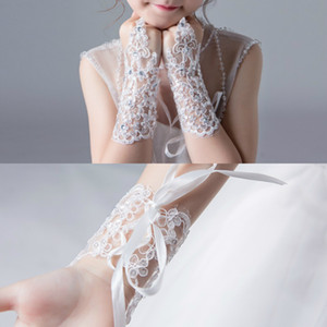 Kids Girls Lace Beading Fingerless Gloves Lovely Princess Flower Girl Dress Gloves Dance Pageant Party Gloves Decoration