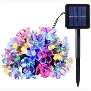 태양 램프 전원 LED 스트링 복숭아 사쿠라 할로윈 크리스마스 장식 문자열 20/30 LED 라이트 홈 정원 장식