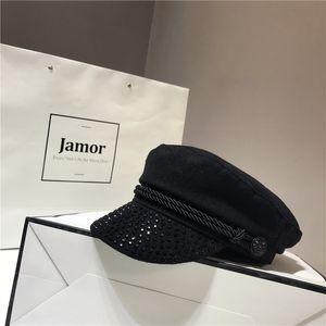 Rhinestone woolen black Navy children's leisure cap British newsboy flat hat Wool flat hat cap