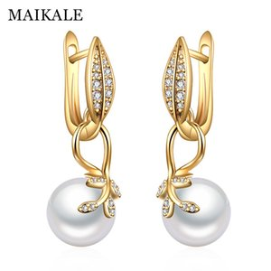 MAIKALE New Simple Leaf Shape Drop Earrings With Pearl Gold Silver Color Cubic Zirconia Korean Earrings For Women Send Gifts