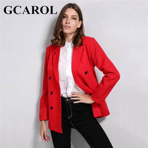 GCAROL New Arrival Spring Autumn Women Blazer Double-Breasted Button Notched Collar OL Work Office Suits Outwear T200716