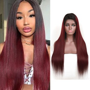 Brazilian Human Hair 1B 99J Ombre Color Silky Straight 1b 99j Lace Wigs 13X4 Lace Front Wig Double Color Straight Adjustable Lace 10-30inch