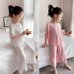 Children Modal Rib Suit Girls Half Sleeve Culottes Tracksuit Summer New Kids Pajamas CeSH#