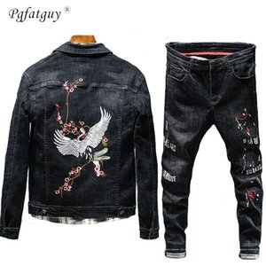 New Tracksuit Men Distressed Denim Set Floral Crane Embroidery Single Breasted Pocket Jean Jacket + Pant suit Two Pieces Sets T200709