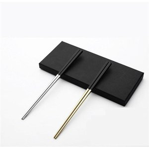 Adeeing 1 Pair 304 Stainless Steel Chopsticks Exquisite Cutlery for Hotel Wedding Home Use Anti-Slippery