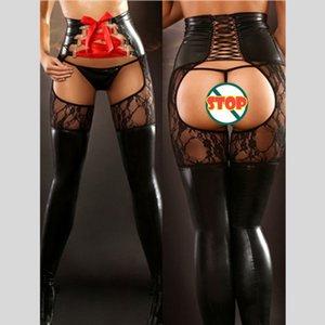 Sıcak Sahte Deri Açık Kasık Seksi Lingerie Kadınlar Şaplak Catsuit Katı Spandex Islak bak Clubwear Tozluklar Fetiş Erotik Kostümler Wear