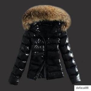 Fashion Plus Size Women Down Jacket Parka Winter Warm Black Fluffy Leather Faux Fur Collar Hooded Coat 3XL Slim Short Outerwear