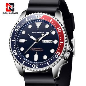 남자에 대한 날짜 빛난 손 군사 시계 방수 고무 스트랩 시계와 벤 네비스 남자 시계 아날로그 쿼츠 시계