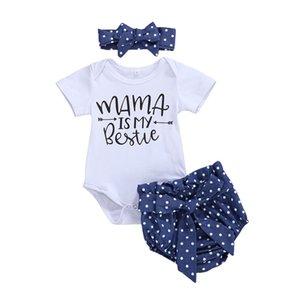Emmababy Bebek Kız 3PCS Giyim Seti Kısa Kollu Romper bodysuit + Polka Dot Şort + Kafa 0-24M Yenidoğan Bebek Kıyafetler