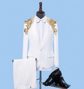2-Parçalı Yakışıklı Sequins Beyaz Erkek Takım Elbise Moda Damat Takım Elbise Düğün Takım Elbise Için En Erkekler Için Slim Fit Damat Smokin stokta