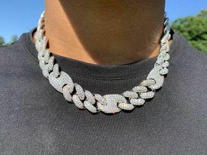 20mm ghiacciato cubano ovale collegamento a catena di diamante collana 14K oro bianco placcato oro zirconi gioielli 16inch-24inch mariner catena cubana