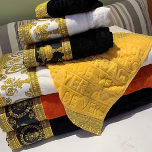 Роскошные махровые полотенца дизайнер Signage бренда квадратный пляжное полотенце и полотенце 3 шт 1 комплект 100% хлопка для подарка праздника 2020