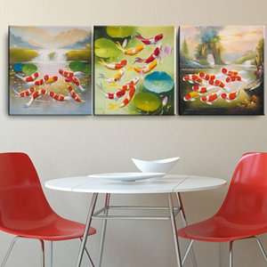 중국 스타일 황금 연꽃 사진 현대 캔버스 예술 벽 포스터 및 인쇄 회화 레트로 3Pieces의 Cyprinus 잉어 물고기 잉크