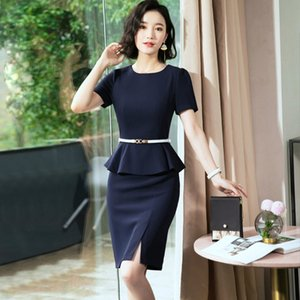 Business suit female 2019 temperament fake two pieces hotel formal dress Beauty and beauty beautician female dress 8102